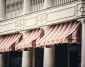 Hotel Cafe Awning Photograph, Chautauqua Institution, Red, Pink, Cream, French Country Decor, Shabby Chic Decor, Large Wall Art.