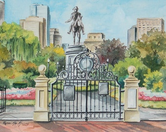 "Original Watercolor Painting, ""Entrance to Boston Public Garden"" by Renee' MacMurray"