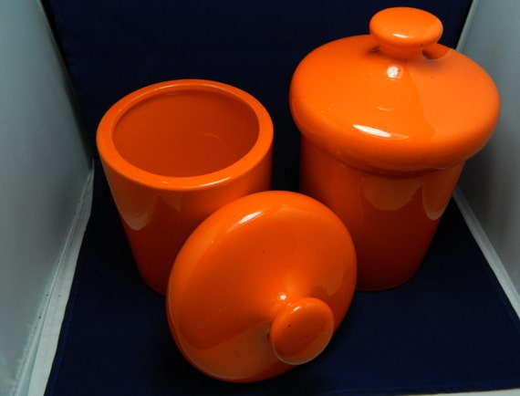 Retro Orange Cookie Jars / Storage Containers Set of 2