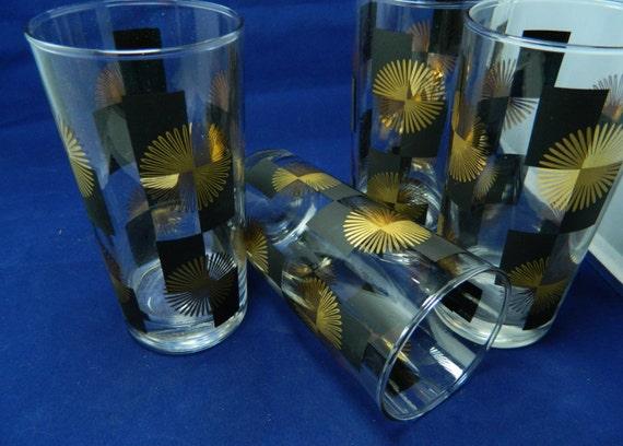 Mid Century Sunburst Black & Gold Bar Glasses Tall