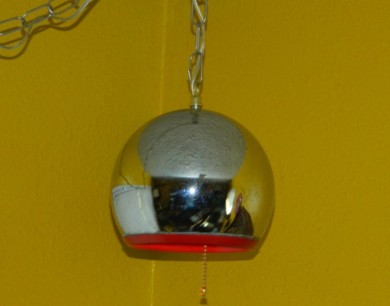 Mid Century Space Age Chrome Eyeball Orb Swag Lamp You Choose The Color