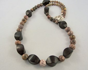 Red Leopard Jasper & Wood Necklace