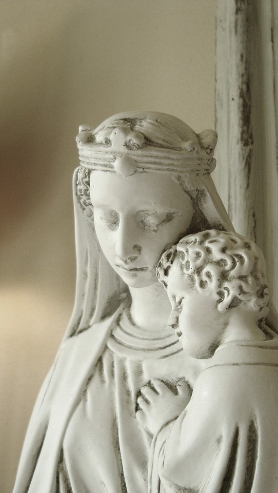 RESERVE for AlexandraGrey:  Large Queen Mary and Child Statue, White, French Nordic Style,