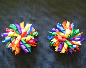 Rainbow colored large 4 inch korker pair