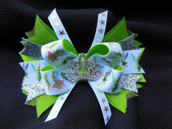 Tinkerbell bow boutique 5 inch with rhinestone tiara center