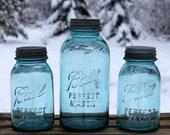 3 Vintage Aqua Blue Ball Mason Jars - Half Gallon and Quart - Aqua Wedding Jars - Retro Kitchen & Pantry Storage -  INSURANCE w SHIPPING