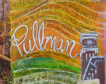 PULLMAN, WASHINGTON, Washington State University, Northwest Gifts, WSU gift,  Wazoo, Mixed Media Print by Seattle Artist  Mary Klump