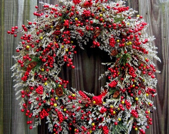 Christmas Wreath , Winter Wreath ,  Holiday Wreath , Berry Wreath , Wreath For The Door