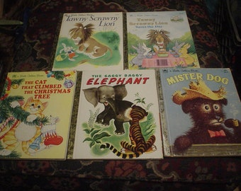 5 Childrens Little Golden Books 1974 to 1992, Children's Books, Victorian, Shabby Chic, Accessories, Classic, Collectible, Antique, Retro