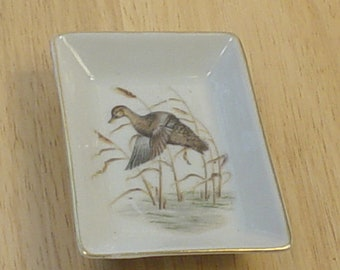 2 Vintage Lefton  Porcelain Rectangle Ashtray with Hand Painted Ducks in Flight, Ceramic, Porcelain, Shabby Chic, Victorian, Souvenirs,Retro