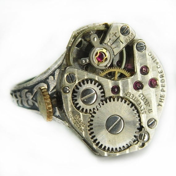 Women's Steampunk Ring Jewelry - Watch Movement Torch SOLDERED - Bright PIN STRIPED face w/ Floral Band - Adjustable - Mega Shine