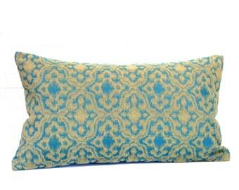 Lumbar Pillow Cover Blue Green Medallion Oblong Accent Decorative Pillow Throw Pillow Cover 12x24 12x21 12x18 12x16 10x20