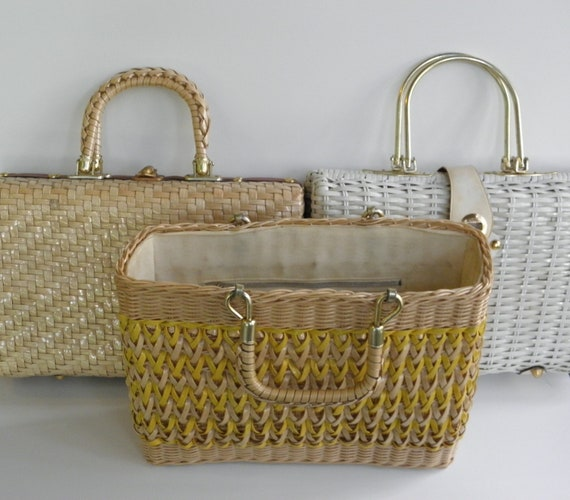 Vintage Wicker Purse, Hong Kong Straw Tote, Trio of Mid Century Purses, Instant Collection
