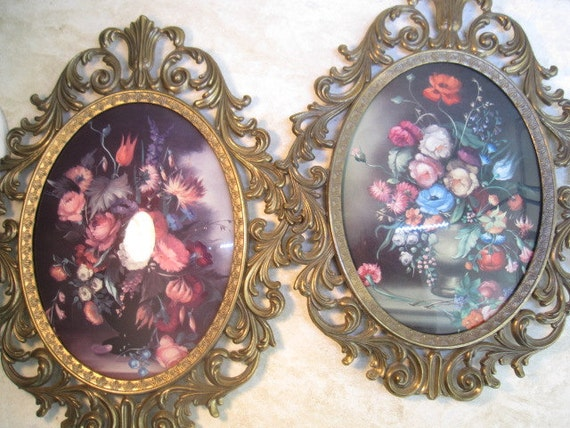 Vintage Pair of Ornate Italian Metal Frames Oval with Concave Glass