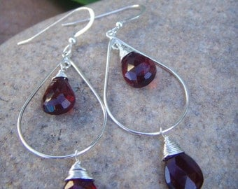 Garnet Earrings - Garnet Teardrop Earrings - Sterling silver Dangle Earrings - January Birthstone