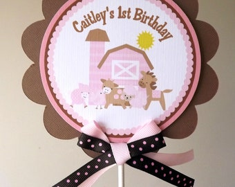 Girly Farm Collection in Pinks and Brown: Smash Cake Topper