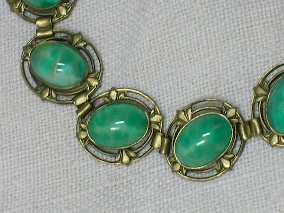 1930s Bracelet: Czech Glass Jade Elegance