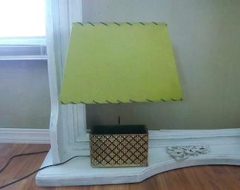 Vintage Green Footed Goldtone Filagree Planter Lamp