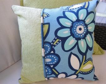 Blue Flower Pillow - Green Decorative Pillow - Vibrant Blue Kiwi Flower Design Pillow - Reversible 15 x 15 Inch - Pillow Insert Included