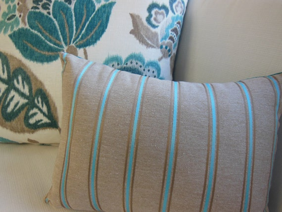 Striped Pillow Teal And Brown Fancy Striped Lumbar Pillow