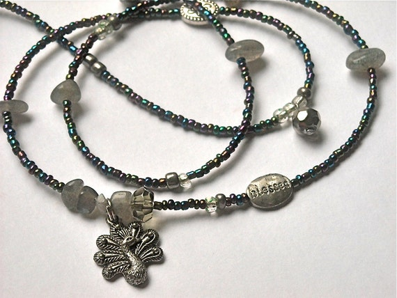 Holiday Sale: Labradorite Peacock Waistbeads, Free Gift Pouch