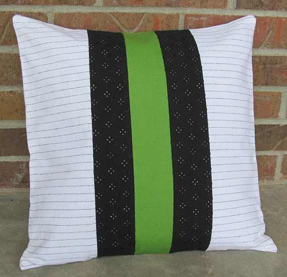Decorative PIllow Black White and Green