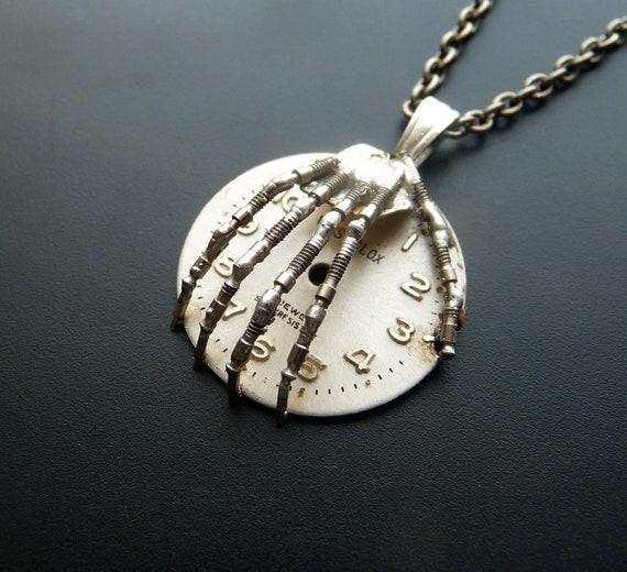"Hand Pendant ""Time Keeper"" Skeleton Watch Stem Hand Necklace Watch Stem Metal Sculpture A Mechanical Mind Skeletal Terminator"