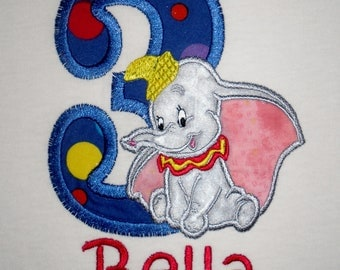 Custom Boutique Dumbo the Elephant Birthday Applique t-shirt  - machine embroidered - personalized