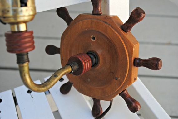 vintage nautical wooden wheel wall sconce light fixture
