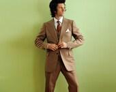 70s mens three piece suit peachy salmon brown herringbone wool wide lapel 40R 42R long