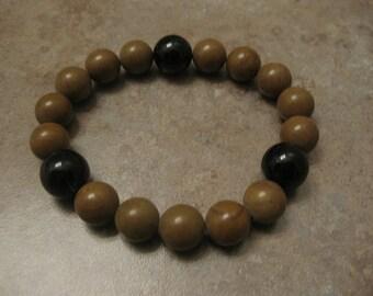 mens bracelet, agate bracelet, wood stretch bracelet,  bracelet mens, black agate, mens jewelry, wood beads, onyx bracelet