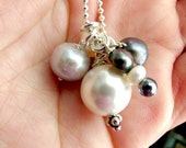 Gorgeous Mixed Pearl Sterling Silver Necklace