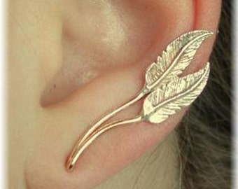 Feathers - Earring Ear Cuff Minimalist Ear Pin Ear Climber Ear Sweep - Gold Filled and Sterling Silver