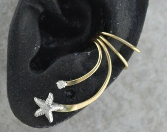 Ear Cuff - Starfish and CZ -  Sterling Silver and Gold Filled - SINGLE SIDE