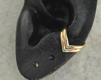 Double Chevron Ear Cuff -  14K Gold Filled  - SINGLE SIDE