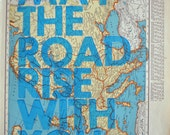 Europe/ May The Road Rise With You/ Letterpress Print on Antique Atlas Page
