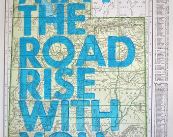 Utah /  May The Road Rise With You/ Letterpress Print on Antique Atlas Page