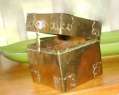 """Vintage 3"""" square Brass Box Attached Lid Covered Corners"""