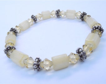 Handmade Yellow Bracelet Pale Yellow Crystal Bracelet Lemon Yellow Bead Bracelet Crystal Bead Bracelet Light Yellow Bead Bracelet Lemon Drop