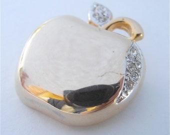 Vintage Apple Brooch Gold Apple Brooch Rhinestones Brooch Apple Gold Pin Fruit Brooch Fruit Pin Apple Bling Brooch Gold Brooch Glam Fab