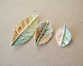 Set of 3 brooches, autumn leaves, green, brown leaf, different sizes Mother's day gift - nature eco friendly Etsy