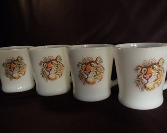 Fire King Vintage Tiger Rare Promo Coffee Cups Set of 4