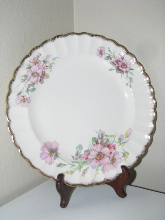 Reserved for Vicki - Vintage American Limoges China Dinner Plate, Wild Rose (Gold Trim) Pattern 3KGW