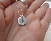 Sterling silver initial pendant monogram necklace