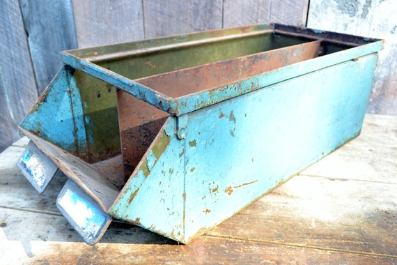Industrial Bin Divided Large Painted Metal Box Blue Green Rust Planter Storage