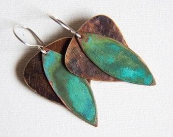 Organic Leaf Earrings - Brass, Copper - Verdigris  Patna - Handcrafted