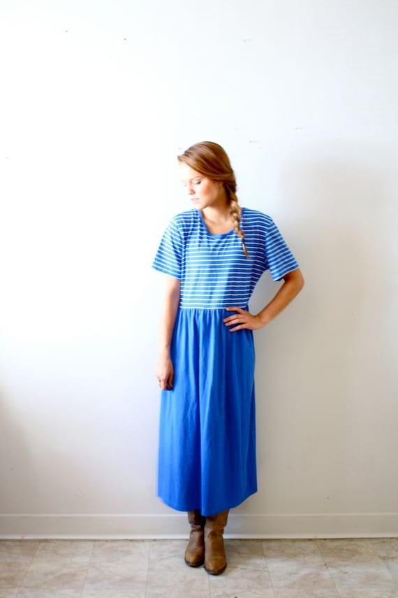 50% OFF Vintage blue striped maxi dress