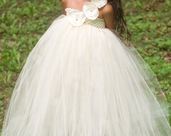 Addisyn dress. Ivory tulle ivory crochet top with handmade flowers and rhinestones