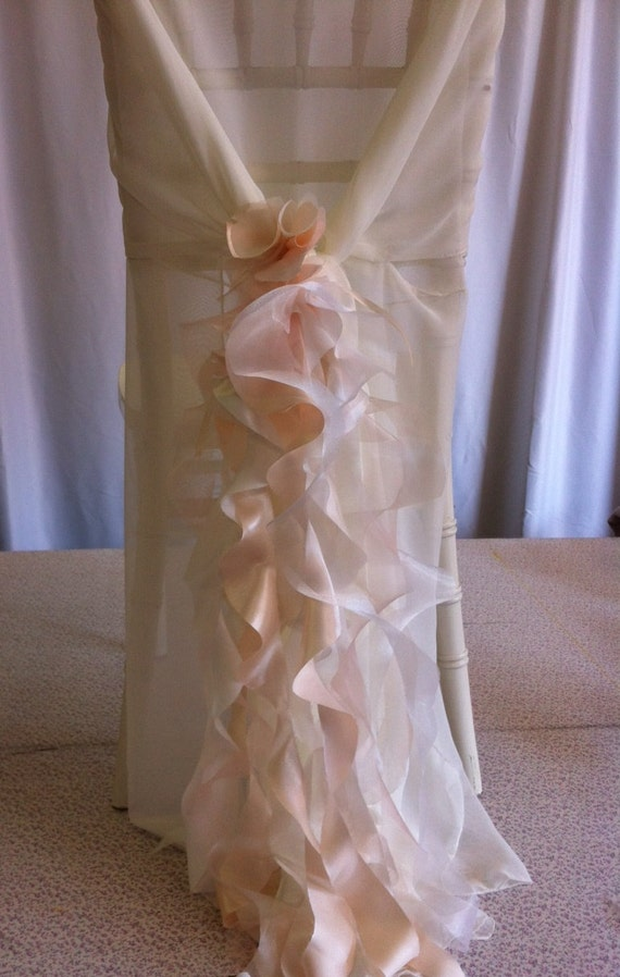 Custom Made Ivory Chiffon Chair Cover with Champagne Curly Accents