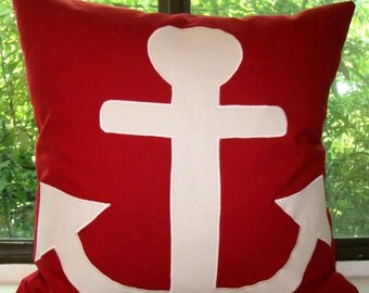 Anchors Away white /red canvas pillow cover 18 X 18